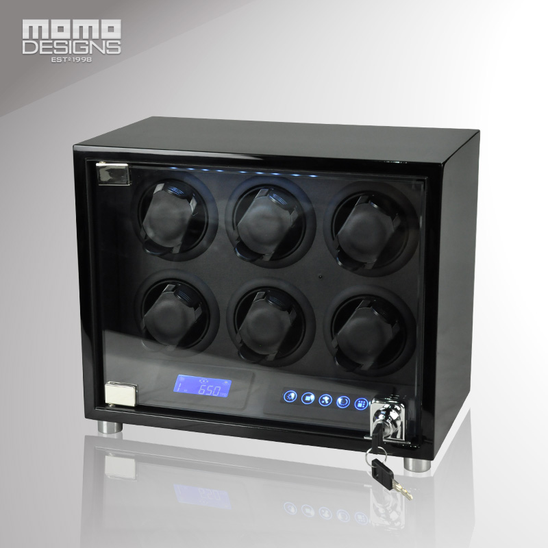High quality watch winder box for 6 automatic watches display storage box Wooden reel machine box with LED and LCD touch screen small cigarette box vending machine bjy b50 with light box