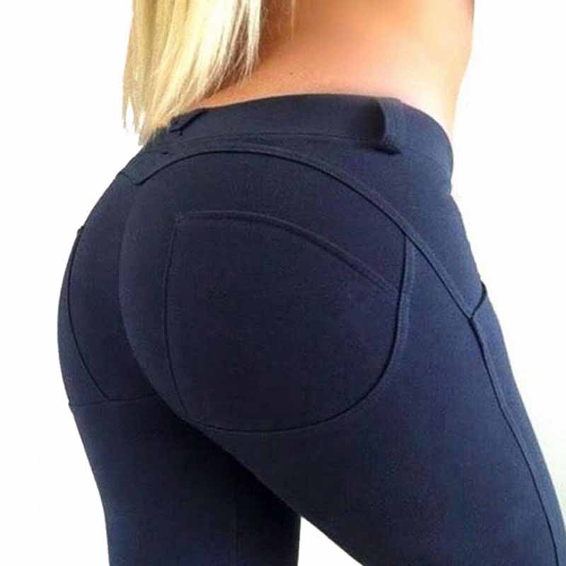 NORMOV Casual Women Leggings Fitness Low Waist Elastic Push Up Ankle Length Spandex Leggin Workout Solid Femme Leggings