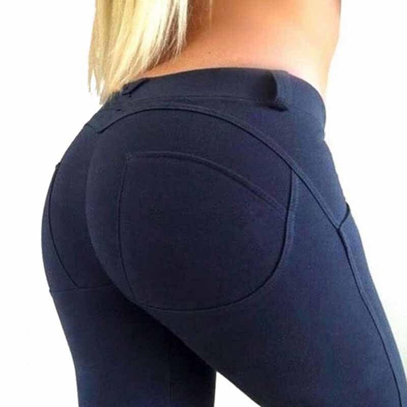 NORMOV Casual Women   Leggings   Fitness Low Waist Elastic Push Up Ankle Length Spandex Leggin Workout Solid Femme   Leggings