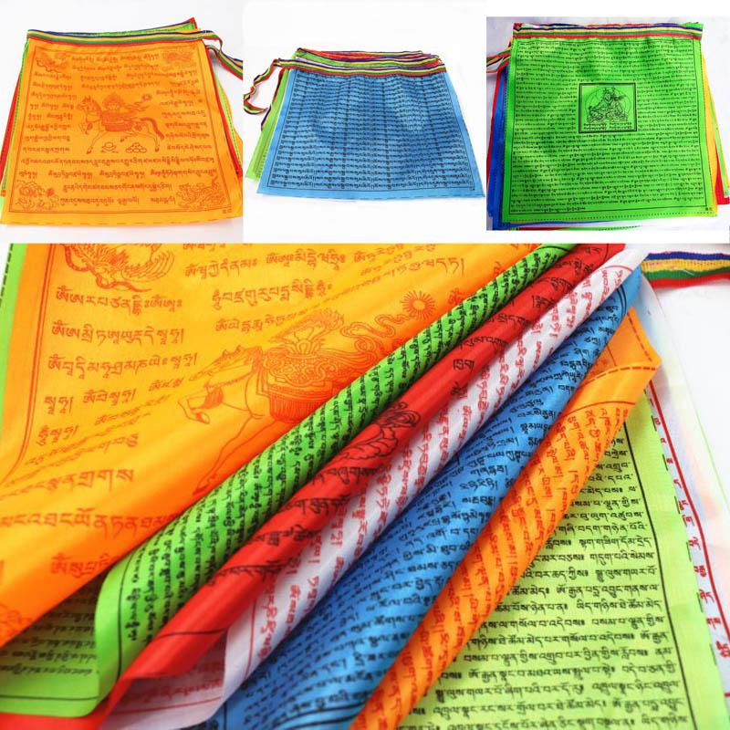 Religious Flags Tibetan Buddhist Supplies Colour Print Prayer Flag Artificial Silk Tibet Lung Ta Banner Scriptures Streamer
