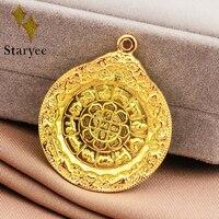 Настоящее 18 К Au750 твердого желтого золота цветок лотоса круглый диск Буддизм религиозные цепи кулон Цепочки и ожерелья украшения для Для же