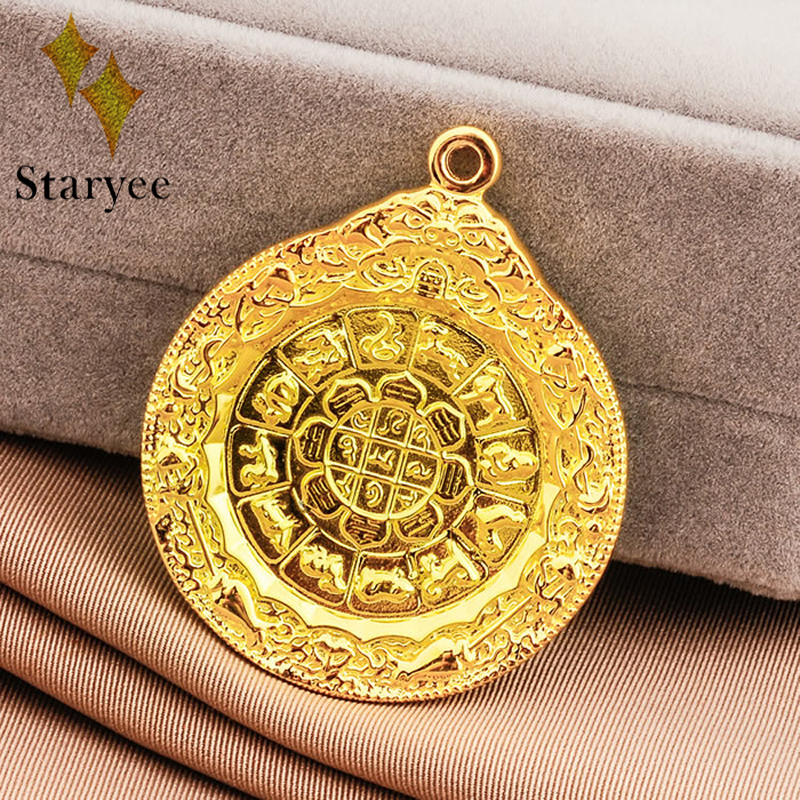 Real 18k Au750 Solid Yellow Gold lotus flower Round Disc Buddhism Religious Chain Pendant Necklace Jewelry For Women/Men Gift