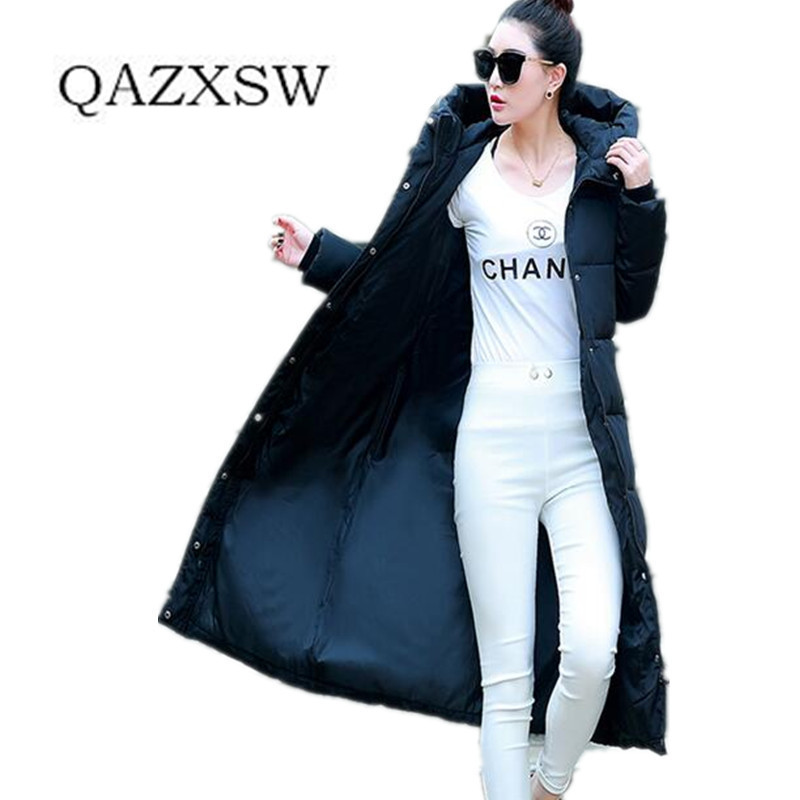 2016 New Women Down Cotton Jacket Winter Thicken Hooded Long Outwear Lady Clothing Printing Coat Female