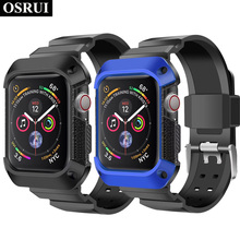 Strap For correa apple watch Sport band Case 44mm 40mm iwatch 4 Rugged TPU Protective cover + Band for Apple Watch bracelet
