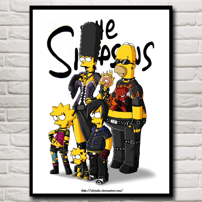 <font><b>Gothic</b></font> The Simpsons Movie Art Silk Fabric Poster Print <font><b>Home</b></font> <font><b>Decor</b></font> Pictures 12x16 18X24 24x32 Inches Free Shipping