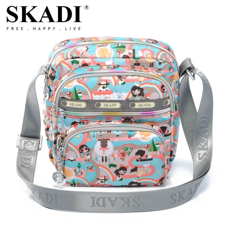 SKADI Waterproof Nylon Women Handbag Famous Brand Cartoon Messenger Shoulder Bags Mini Small Crossbody Channelled Bag Blosa women handbag shoulder bag messenger bag casual colorful canvas crossbody bags for girl student waterproof nylon laptop tote