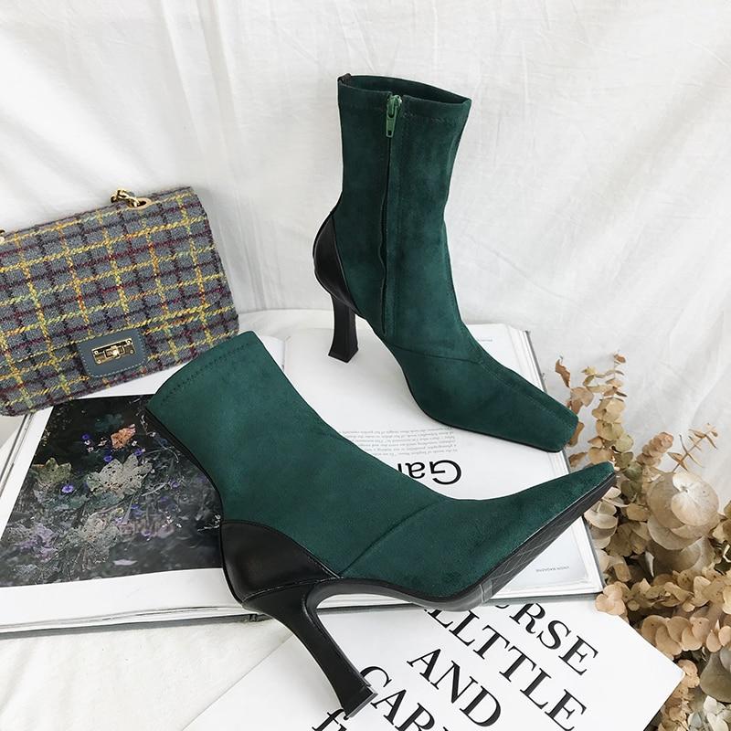 Fino De Negro Pista Zapatos Mujeres Tacón Tobillo Moda Verde Punta Botas Elegante Talón Señoras Alto Cuadrada Cw5XZ