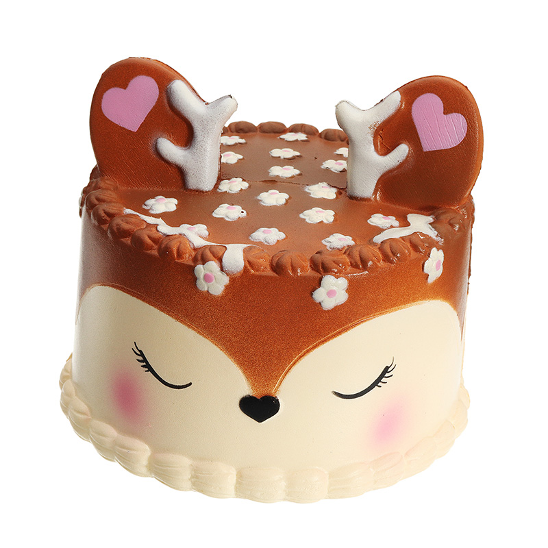 Chocolate Deer Fawn Cake 10cm Slow Rising Soft Collection Gift Decoration Toy Original Packaging Anti Stress