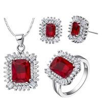 De luxe ANNEAU Collier Boucles D'oreilles Bijoux Définit SA 925 Sterling Argent Classique rouge Cristal costume en afrique sur mesure perles argent