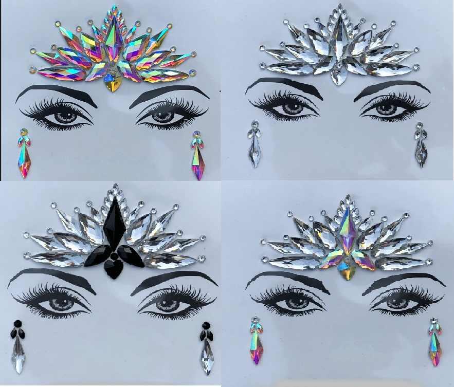 Новый 1 простыни подобранные Богемия Племенной Стиль 3D кристальная Наклейка Уход за кожей лица и глаз Jewels лоб украшение сцены Временные татуировки Стикеры