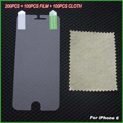 bilder für 200 stücke/l (100 Flim + 100 Tuch) hohe klare bildschirm wache anti scratch schutzfolien protector für iphone 6 6s 6g 4,7 zoll