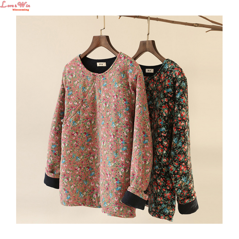 Flowers Pattern Slant Openging Buttons Short Round Collar Cotton Jacket Women National Style Art Cotton Clothes
