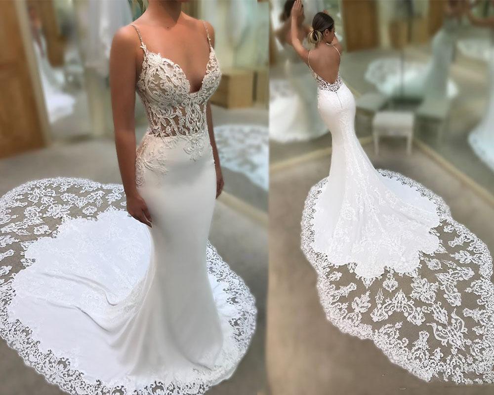 2019 Sexy Spaghetti Straps Mermaid Wedding Dress Beach Backless Court Train Lace Applique Bridal Gowns Vintage Summer Custom