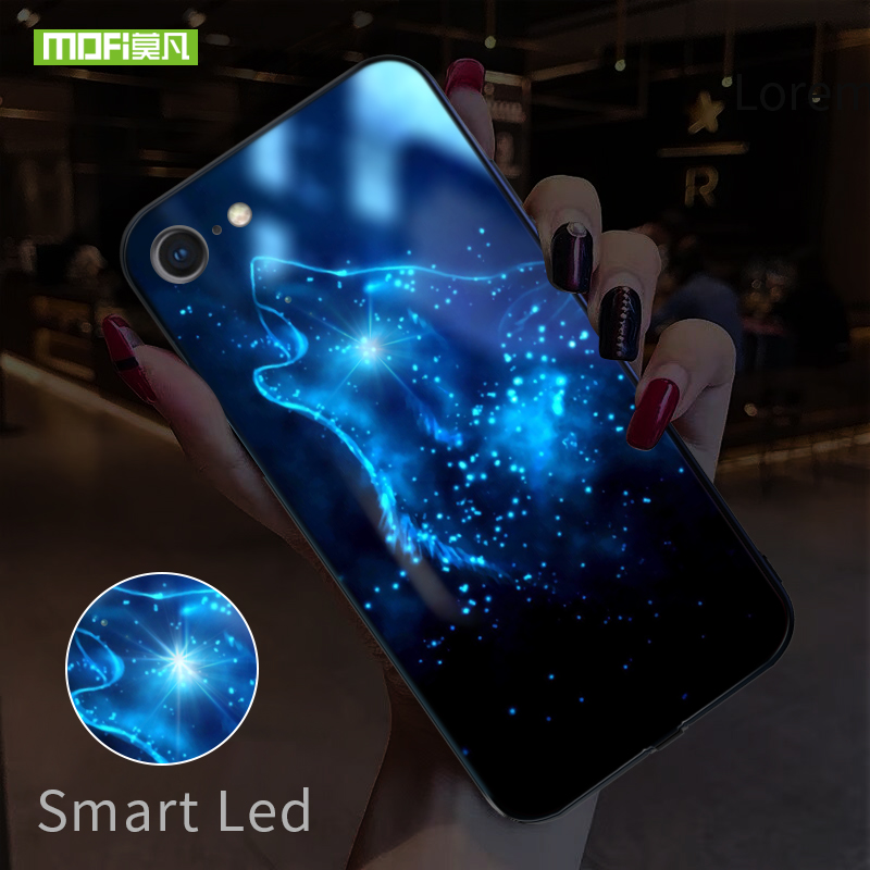 MOFI Smart Led Glow Phone Case For iPhone 6 6S Plus Cases Back Cover Wolf Patterned Funda Animal Luxury Glass Silicone Capa