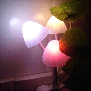 Image 3 - Thrisdar EU US Plug Mushroom LED Wall Lamp Novelty Fungus LED Night Light Baby Kids Bedroom Sleeping Light Sensor Night Lamps
