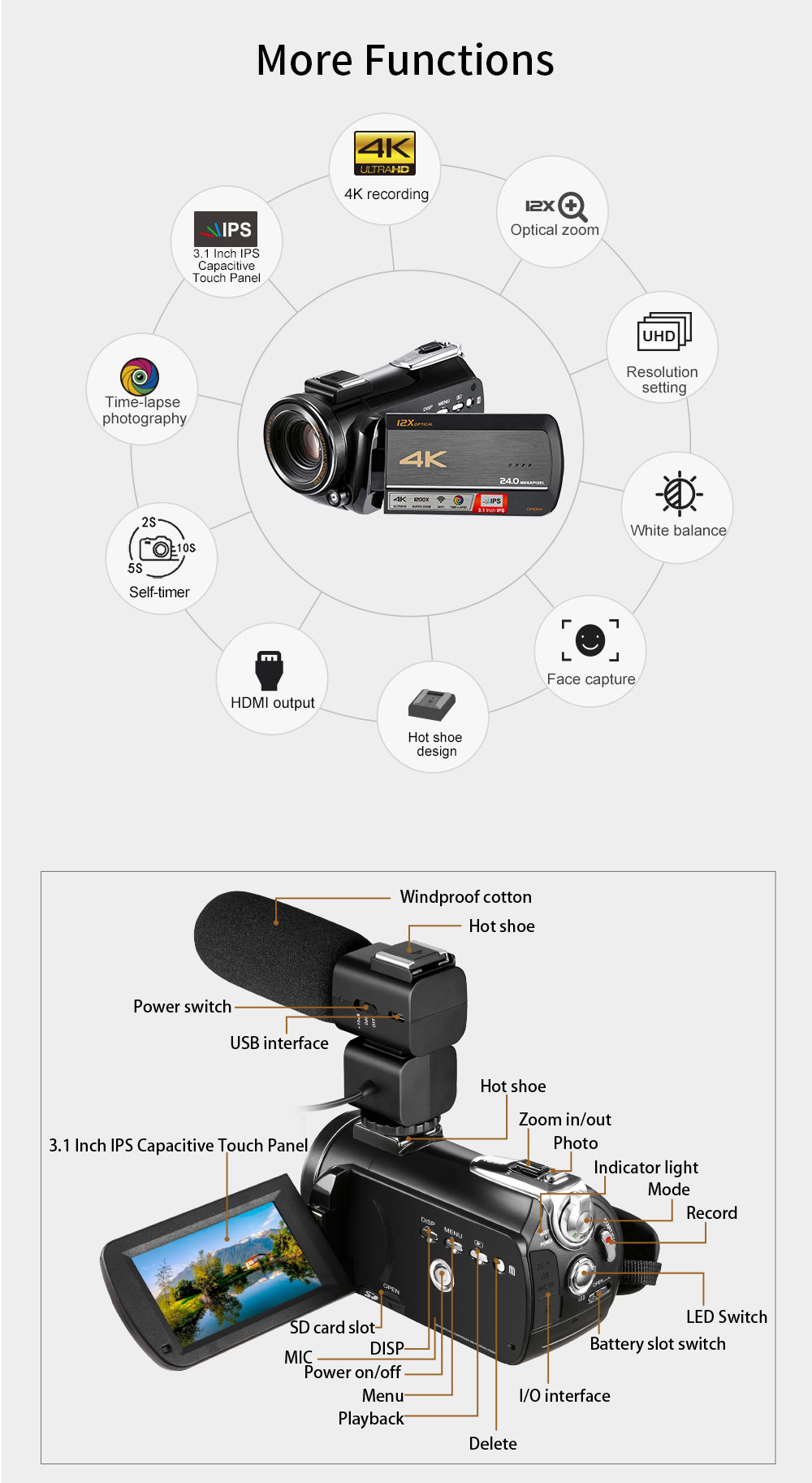 4k WIFI Digital Video Camcorder with 3.0'' Touch Display/12 x Optical Zoom Professional Home Use Digital Camcorder 9