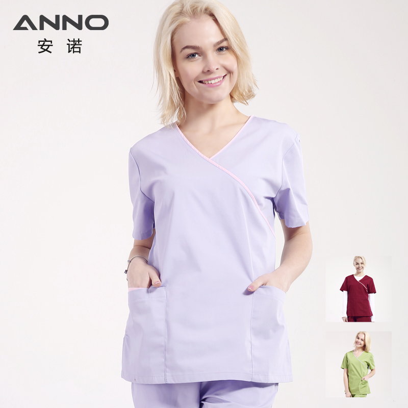 ANNO Medical Scrubs For Women Adjustable Waist Nursing Uniforms Hospital Clinic Beauty Salon  Work Wear Surgical Clothing