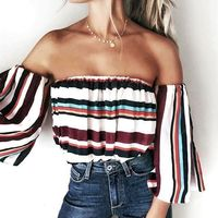 New Arrival Spring Summer 2017 Women Sexy Slash Neck Cold Shoulder Colorful Striped Blouses Shirts Long