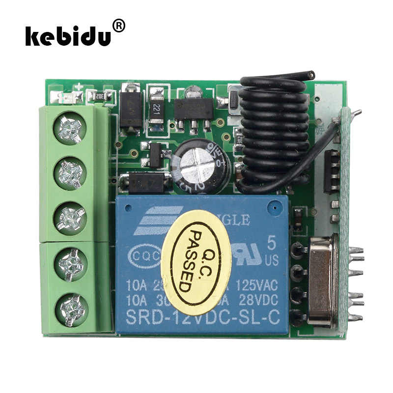 kebidu New 433Mhz Wireless Remote Control Switch DC 12V 1CH relay Receiver Module RF Transmitter Remote Controls
