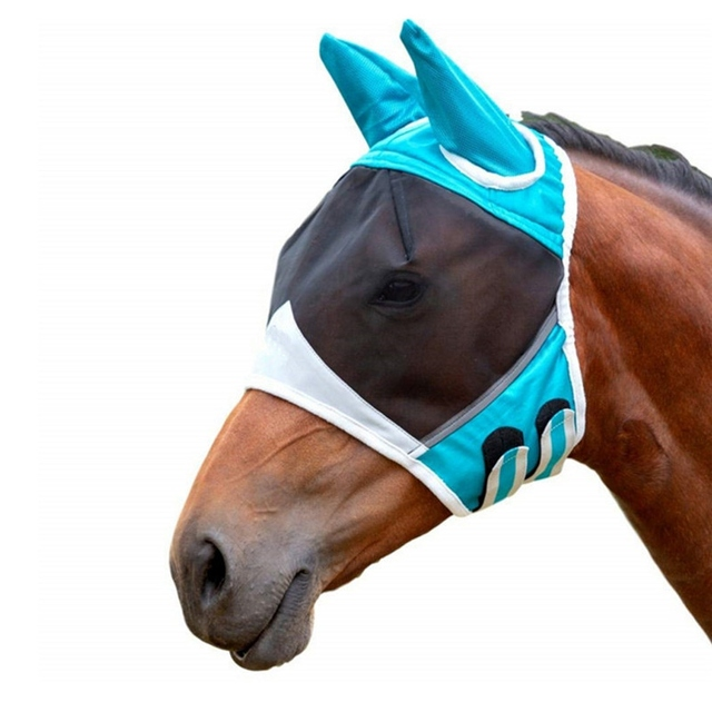 Horse Detachable Mesh Mask With Nasal Cover Horse Fly Mask Horse Full Face Mask Anti-mosquito Nose With Zipper 1