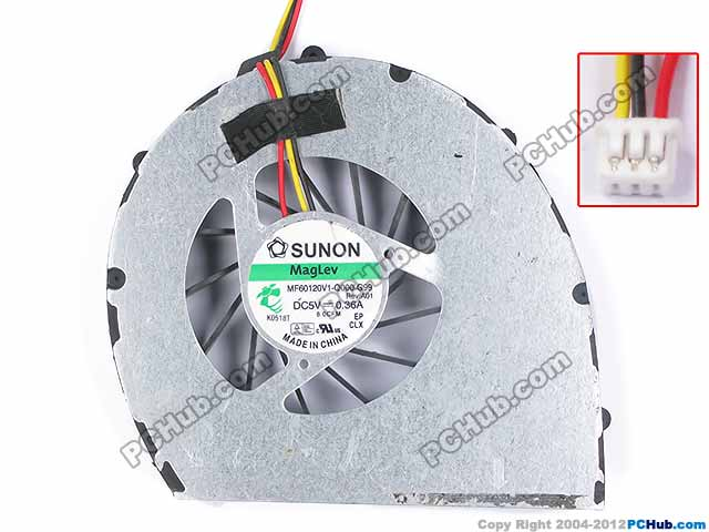 SUNON MF60120V1-Q000-G99, 8.0CFM DC 5V 0.36A Server Bare fan