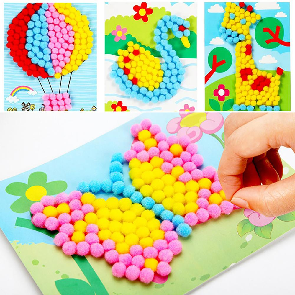 DIY Plush Ball Painting Stickers Puzzles Handmade Crafts Educational Kids Toy