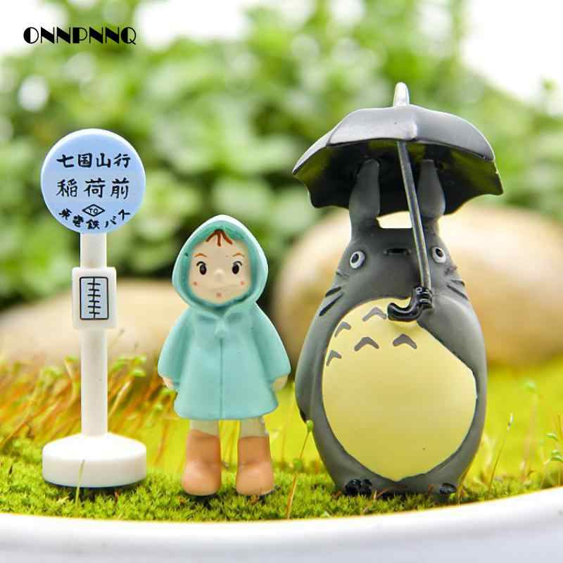 3pcs/ Lot Kawaii Mini Animal Resin  Umbrella Totoro Xiaomei Cartoon Figurines  Miniatures Micro Landscape Mini Garden Decoration