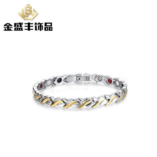 2016 ladies health care Personality bracelet stainless steel magnetic bracelet female Customized jewelry wholesale SBRM-051