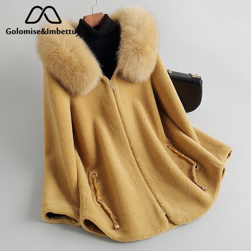 Golomise&Imbettuy Real Composite Lamb Fur Coat Women Genuine Wool Fur Coat/Jacket Faux Suede Leather Liner With Fox Fur Hood(China)