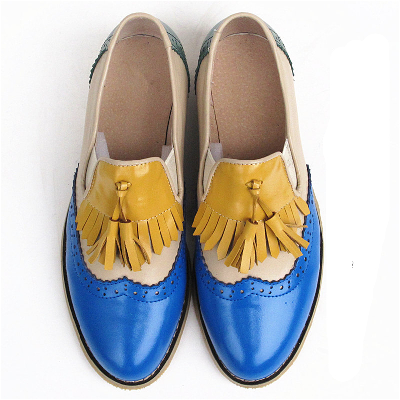 Image 4 - Women oxford Spring shoes genuine leather loafers for woman sneakers female oxfords ladies tassel single shoes 2019 summer shoes-in Women's Flats from Shoes