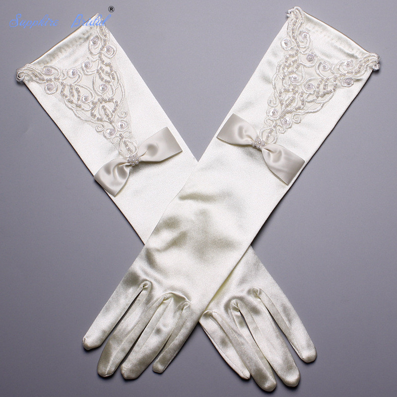 Sapphire Bridal New Arrival Satin Gloves Long Lace Appliques High Quality Beaded Opera Length Finger Gloves 2019 New Real Photo