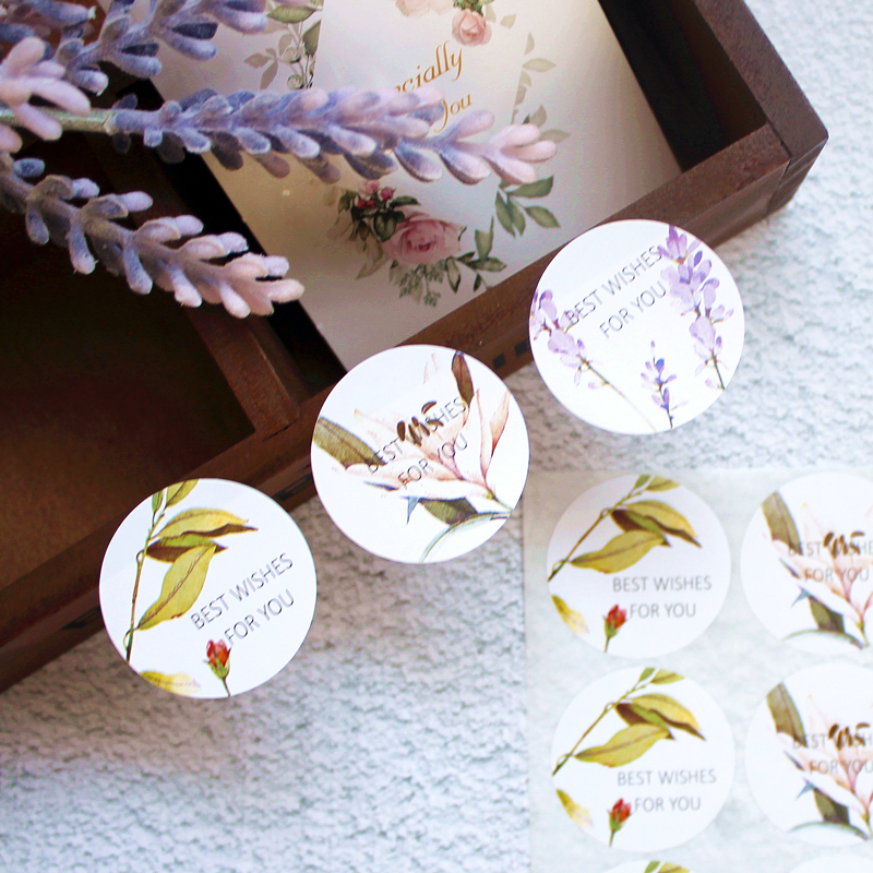 90 Pcs Handmade Flower Gift Stickers Packaging Food Seals Labels Wedding Favors