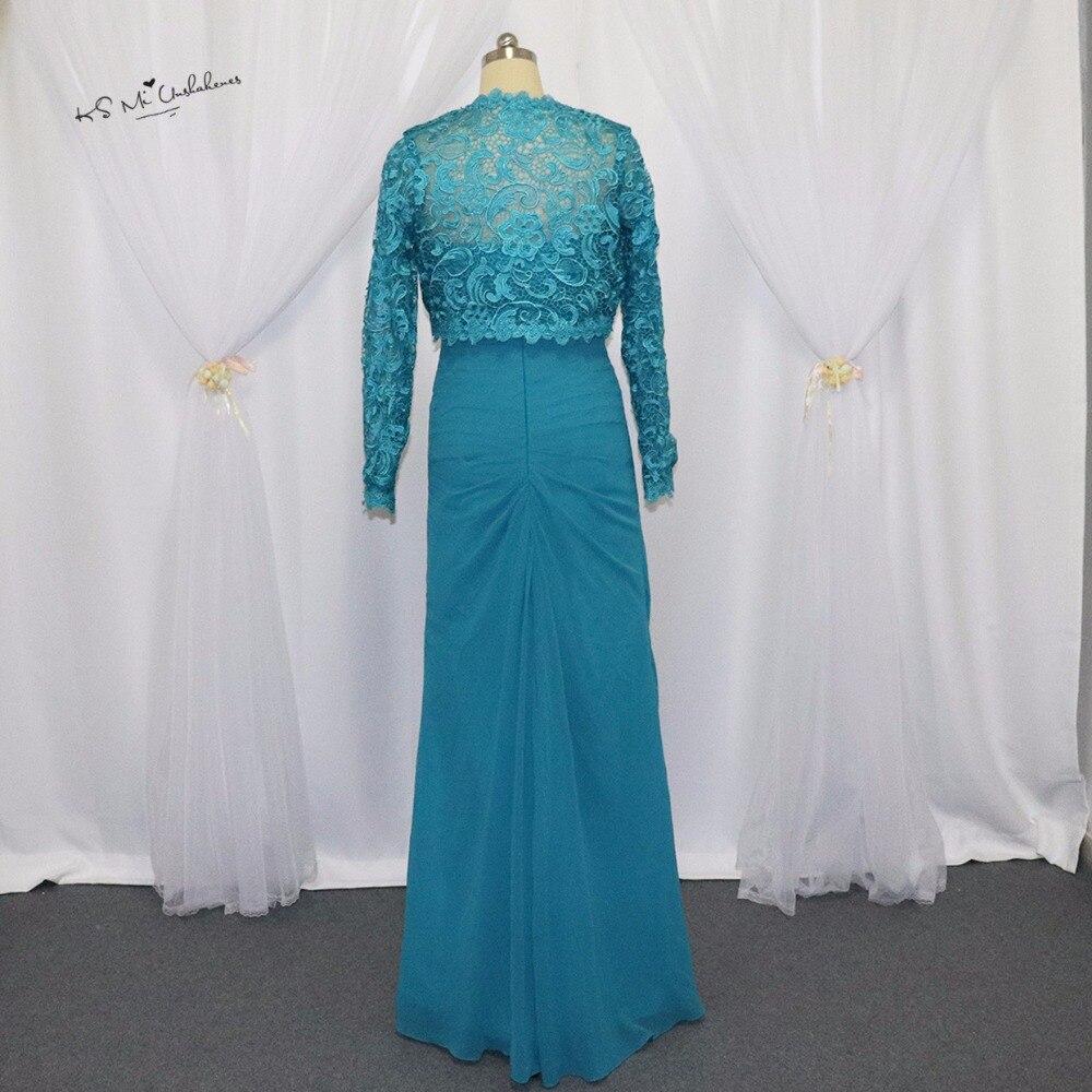 Turquoise mère de la mariée en mousseline de soie pantalon costumes de mariage grande taille Vestidos Madre de Novia longues robes de mère avec veste en dentelle - 2