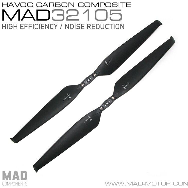 MAD HAVOC 32X10 5 CARBON PLASTIC Polymer Folding propeller for rc multi rotors VTOL Multicoptor font