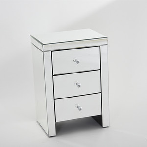 Panana Mirrored Bedside Cabinet/Bedside Table/Chest of 3 Drawers Bedroom Nightstand