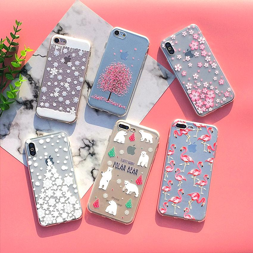 Soft Silicon Cover Case For Apple Iphone 8 7 7Plus 6 6S Plus 5S SE Case Iphone X Case Shell Happy Christmas And New Year Gift