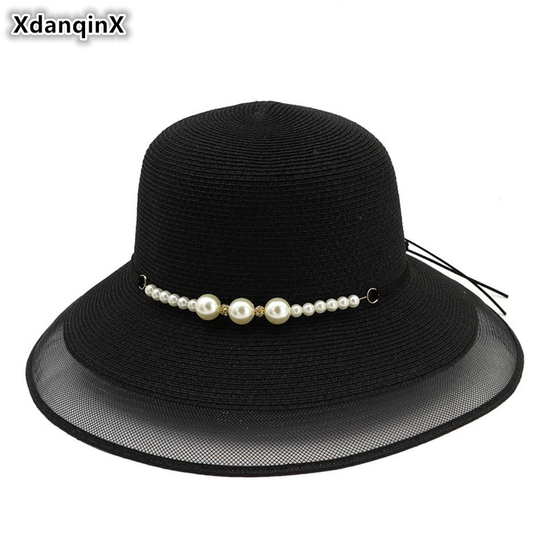 XdanqinX Foldable Adult Womens Sun Hats Ladys Novel Breathable Straw Hat 2019 New Summer Elegant Women Beach Peculiar Cap