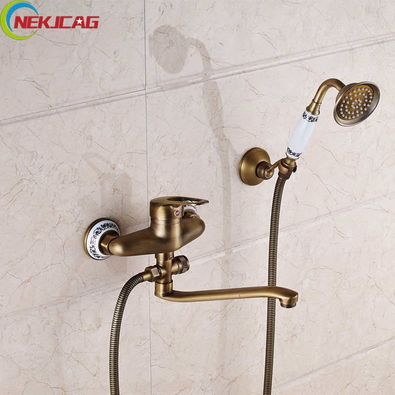 цена на Antique Brass Shower Faucet Bathroom Shower with Handheld Shower hand Brass Mixer Tap Single Handle