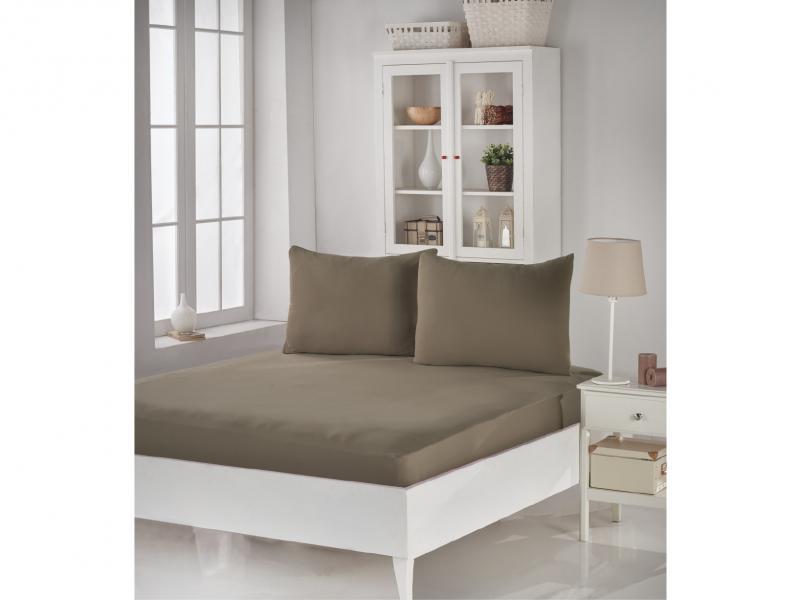 Set KARNA, ACELYA, bed sheet with two наволочками, 180*200*30 cm, dark beige two tone handle eye brush set 3pcs