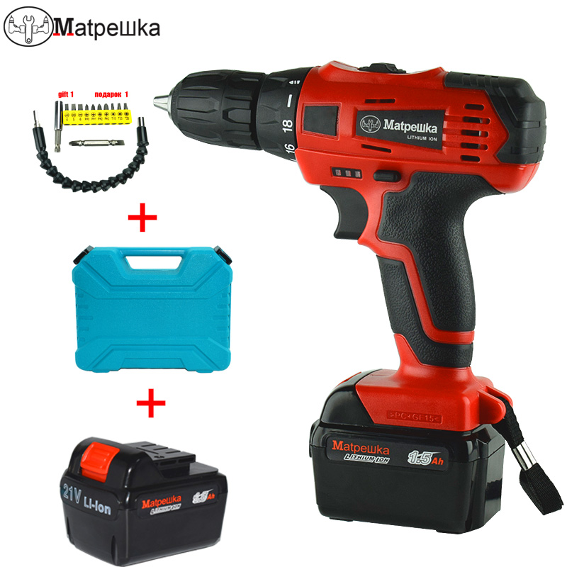 21V Professional Mini Cordless Electric Screwdriver Rechargeable Lithium-ion Battery Electric Electric Drill Power Tools 1 pc 18v 4000mah rechargeable battery pack power tools batteries replacement cordless for bosch drill bat610 li ion