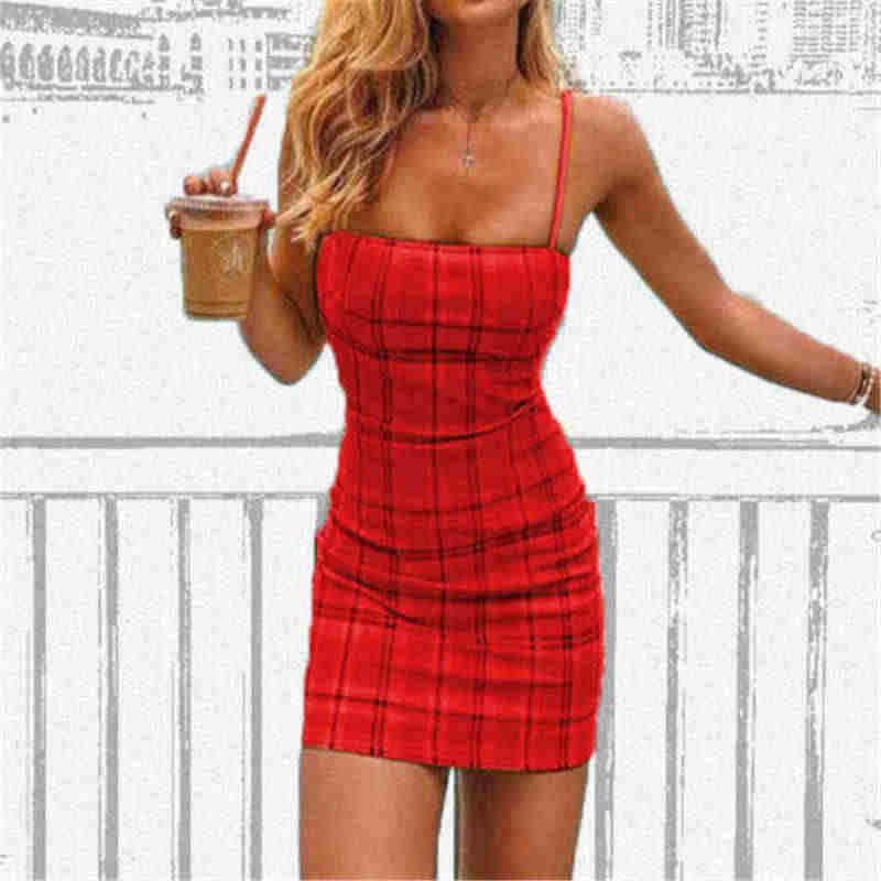 Клетчатое сексуальное облегающее летнее платье 2019 без бретелек Спагетти ремни для бандажа Мини платья Вечерние Повседневные базовые пляжные платья короткие платья