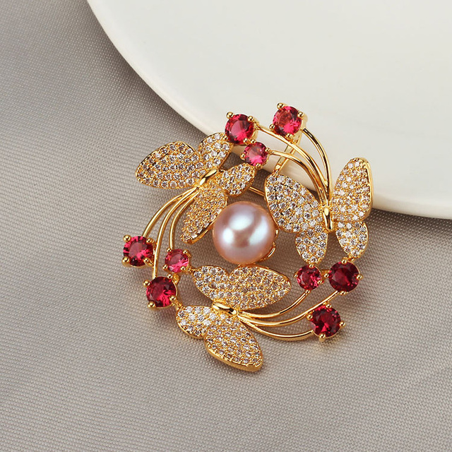 Luxury Colour Stone Flower Brooches for Women Natural Pearl Brooch Pins Crystal Jewelry for Female Wedding Scarf Accessories