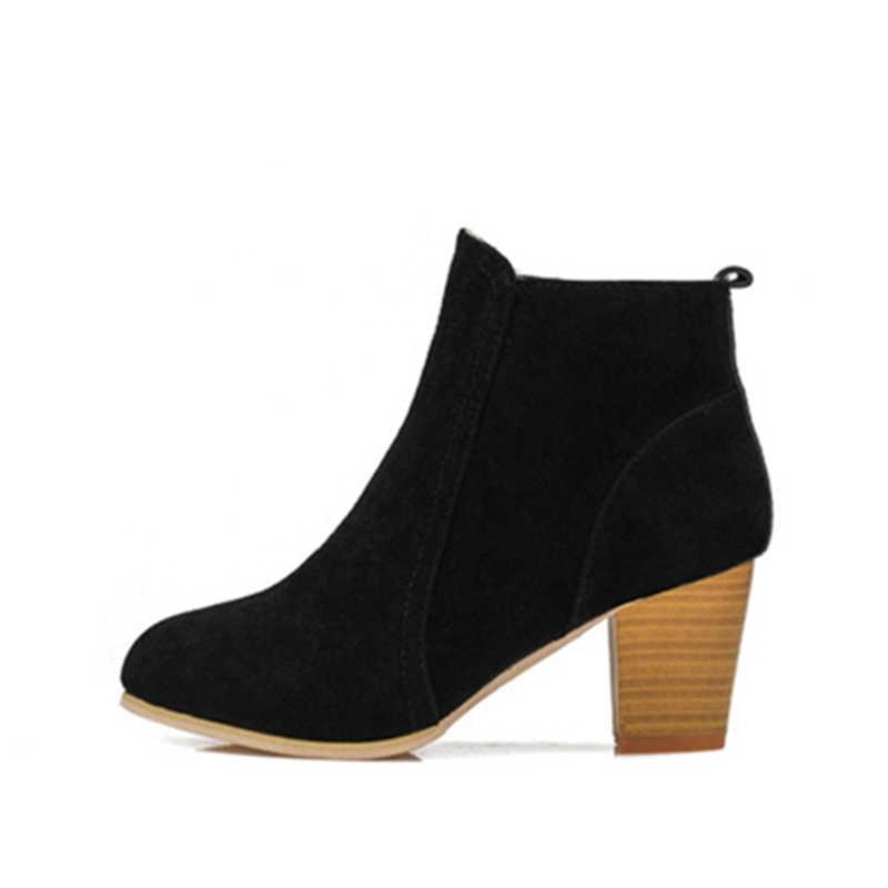5f7b8487 ... Hung Yau Otoño Invierno zapatos para mujer botas sólidas señoras  zapatos Martin botas de cuero de ...