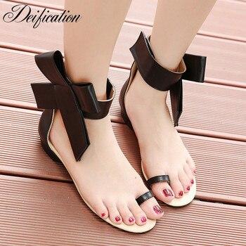 Deification Factory Ankle Strap Women Sandals Sweet  Chaussures Femme Ete 2018 Large Butterfly-Knot Women Summer Platform Shoes