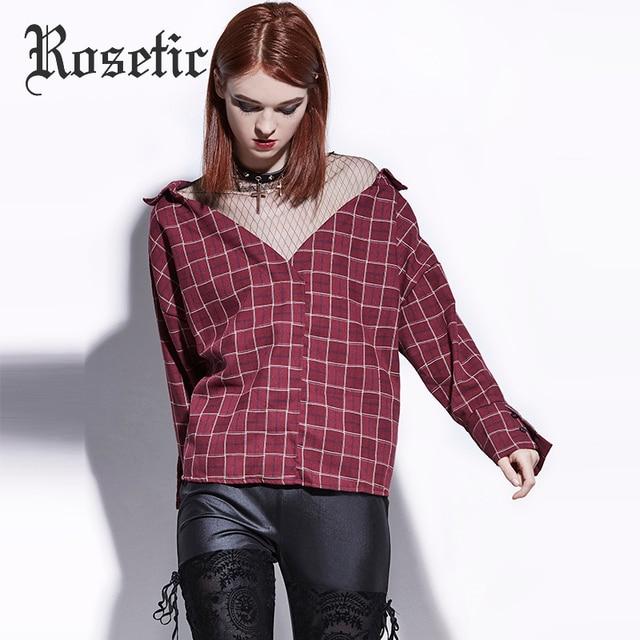 6762ad3b6 € 11.66 46% de DESCUENTO|Blusa gótica rosada de tela escocesa roja de malla  de retazos de mujer Casual suelta Goth camisas de moda cuello en V ...