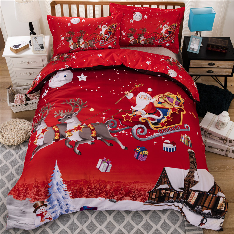 3PCs/Set Bedding Santa Claus Bed Polyester Christmas Decorations For Bedroom Queen Size Duvet Cover Pillowcase #SW