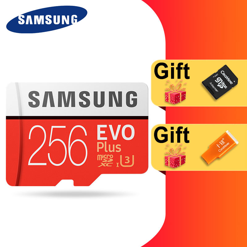 SAMSUNG 100% Original Micro sd Card 256G 128GB 64GB 100Mb/s Class10 U3 U1 SDXC Grade EVO+ flash card Memory Microsd TF/SD Cards-in Memory Cards from Computer & Office