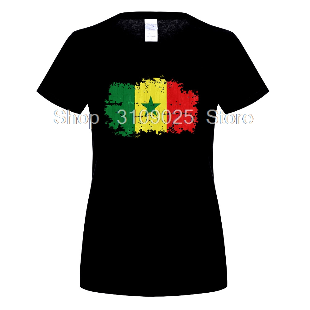GILDAN Senegal Flag Nostalgic Style women T Shirt Casual T-shirt for women Short Sleeve Tops Senegal Patriot 100% Cotton Tee