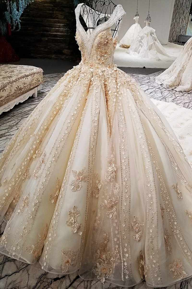 LS01474 זהב שמפניה יוקרה גדל V צוואר צבעוני 3D פרחים keyhole חזור שווי שרוולי סופר יוקרה גדול ארוך זנב חתונה שמלה