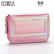 CUIKCA  Multi-Card Bag RFID Wallet Card Holders Slim Women Purse Flash Sequins PU Leather ID Credit Cases